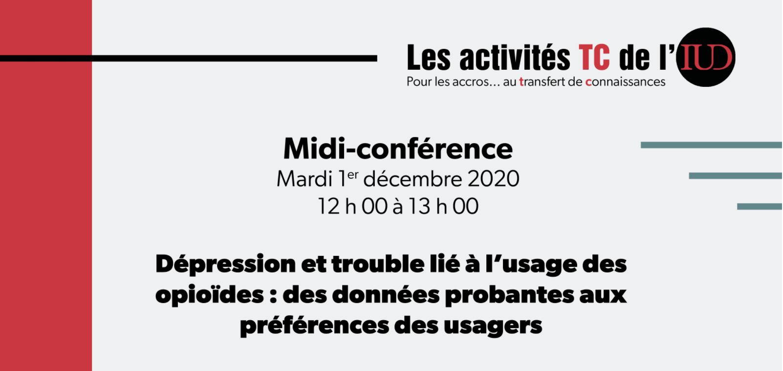 Midi-conférence IUD Institut Universitaire sur les Dépendances